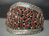 Striking Vintage Navajo Coral Sterling Silver Native American Jewelry Bracelet-Nativo Arts
