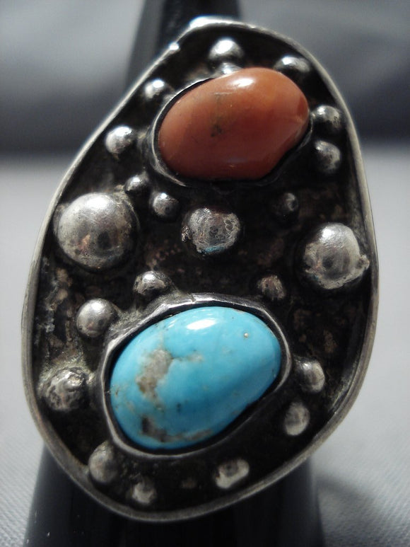 Striking Vintage Navajo Coral Sterling Silver Native American Jewelry Ring Old-Nativo Arts