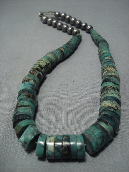 Striking Vintage Navajo Green Turquoise Sterling Native American Jewelry Silver Necklace Old