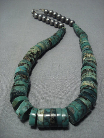 Striking Vintage Navajo Green Turquoise Sterling Native American Jewelry Silver Necklace Old-Nativo Arts