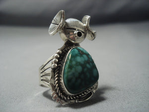 Striking Vintage Navajo Native American Jewelry jewelry Kachina Carico Lake Turquoise Sterling Silver Ring Old-Nativo Arts