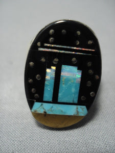 Striking Vintage Navajo Native American Jewelry jewelry Turquoise Opal Sterling Silver Ring-Nativo Arts
