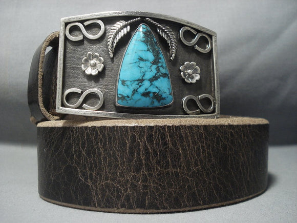 Striking Vintage Navajo Native American Jewelry jewelry Turquoise Sterling Silver Buckle- Heavy!!-Nativo Arts