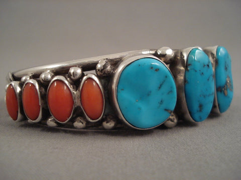 Striking Vintage Navajo Turquoise Coral Sterling Native American Jewelry Silver Bracelet Old Pawn-Nativo Arts