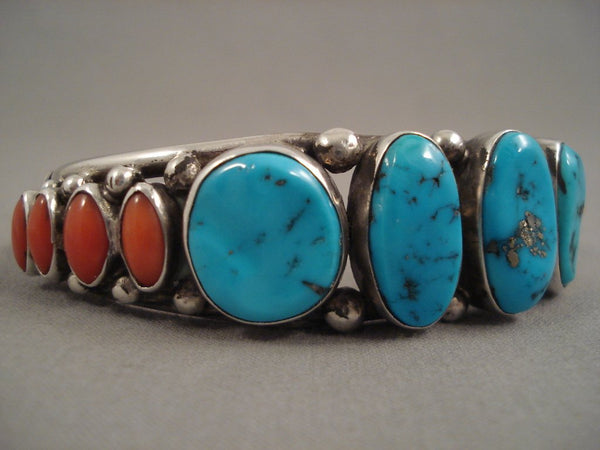 Striking Vintage Navajo Turquoise Coral Sterling Native American Jewelry Silver Bracelet Old Pawn