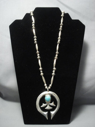 Stunning Hand Wrought Vintage Navajo Turquoise Sterling Native American Jewelry Silver Necklace Old-Nativo Arts