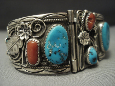Stunning Navajo Coral Turquoise Sterling Native American Jewelry Silver Bracelet Cuff-Nativo Arts