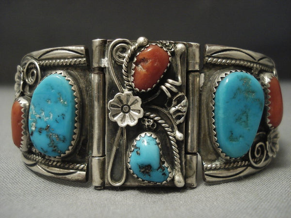 Stunning Navajo Coral Turquoise Sterling Native American Jewelry Silver Bracelet Cuff
