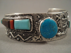 Stunning Navajo Turquoise Coral 'Native American Jewelry Silver Petroglyphs' Native American Jewelry Silver Bracelet-Nativo Arts