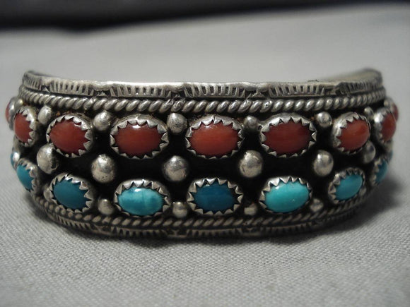 Stunning Vintage Native American Navajo Domed Coral Turquoise Sterling Silver Bracelet Old-Nativo Arts