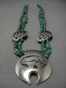 Stunning Vintage Native American Navajo Royston Turquoise Sterling Silver Necklace Old-Nativo Arts