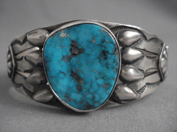 Stunning Vintage Navajo Blue Diamond Turquoise Native American Jewelry Silver Bracelet