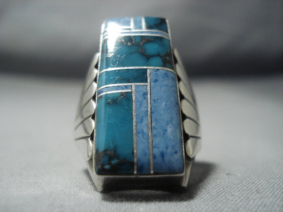 Stunning Vintage Navajo Native American Jewelry jewelry Turquoise Lapis Sterling Silver Ring Old-Nativo Arts