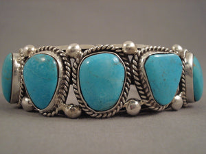 Stunning Vintage Navajo Old Kingman Turquoise Sterling Native American Jewelry Silver Bracelet-Nativo Arts