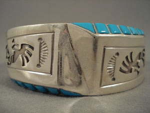 Stunning Vintage Navajo Old Sleeping Beauty Turquoise Sterling Native American Jewelry Silver Bracelet-Nativo Arts