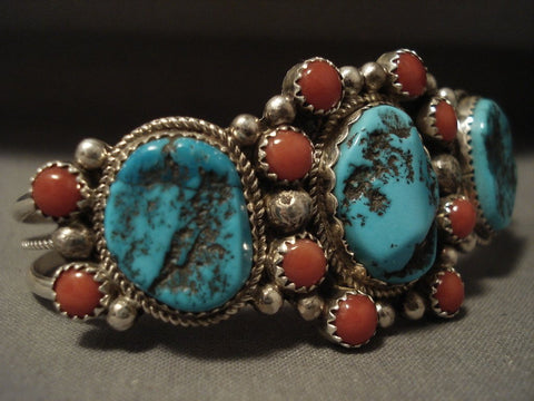 Stunning Vintage Navajo Persin Turquoise Coral Satellite Native American Jewelry Silver Bracelet Old-Nativo Arts