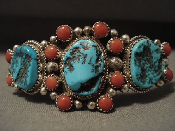 Stunning Vintage Navajo Persin Turquoise Coral Satellite Native American Jewelry Silver Bracelet Old