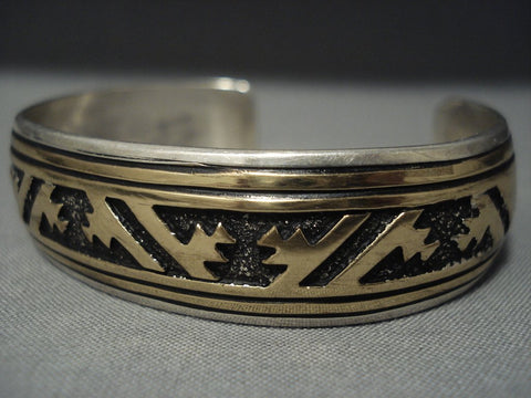 Stunning Vintage Navajo Rug Designs Sterling Native American Jewelry Silver Bracelet Old-Nativo Arts