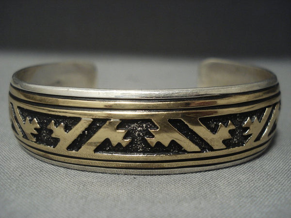 Stunning Vintage Navajo Rug Designs Sterling Native American Jewelry Silver Bracelet Old