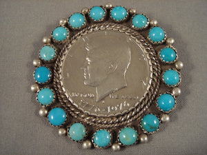 Stunning Vintage Navajo 'Snake Eyes Turquoise' Native American Jewelry Silver Coin Pin-Nativo Arts