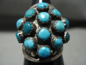 Stunning Vintage Navajo Snake Eyes Turquoise' Native American Jewelry Silver Ring Old Jewelry-Nativo Arts