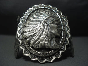 Stunning Vintage Navajo Sterling Native American Jewelry Silver Cheif Bracelet-Nativo Arts