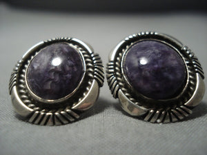 Stunning Vintage Navajo Sugulite Sterling Native American Jewelry Silver Earrings Old-Nativo Arts