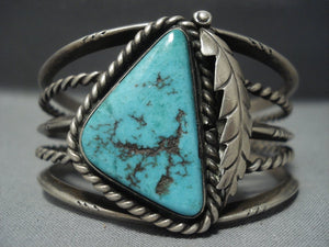 Stunning Vintage Navajo Triangular Turquoise Sterling Native American Jewelry Silver Bracelet Old-Nativo Arts