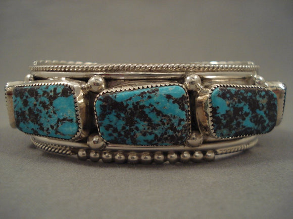 Stunning Vintage Navajo Turquoise Sterling Native American Jewelry Silver Hand Carved Bracelet-Nativo Arts