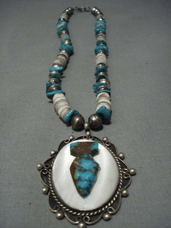Stunning Vintage Navajo Turquoise Sterling Native American Jewelry Silver Necklace Old Pawn-Nativo Arts