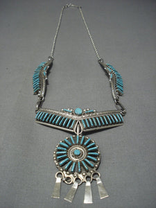 Stunning Vintage Zuni Needlepoint Turquoise Sterling Native American Jewelry Silver Necklace-Nativo Arts