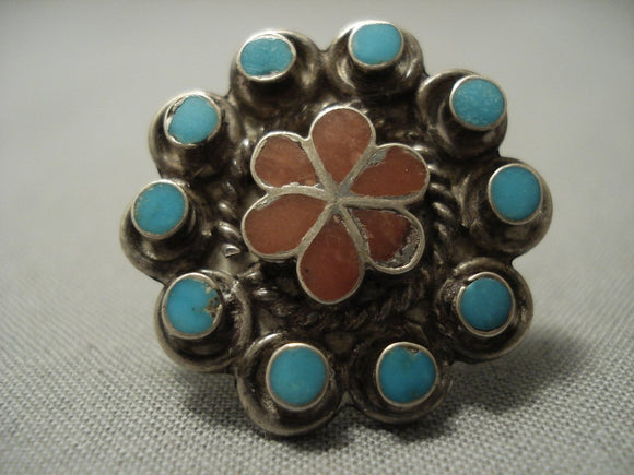 Stunning Vintage Zuni Turquoise Coral Dishta Inlay Sterling Native American Jewelry Silver Ring-Nativo Arts