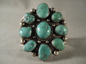Sunbursting Formation Vintage Zuni Green Turquoise Native American Jewelry Silver Bracelet-Nativo Arts