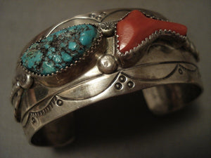 Super Chunky Dunk Coral Vintage Navajo Turquoise Native American Jewelry Silver Bracelet Old-Nativo Arts