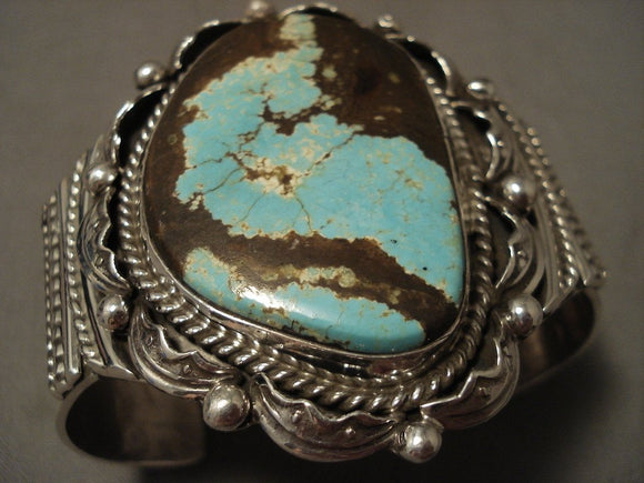 Super Huge Navajo #8 Turquoise Native American Jewelry Silver Wave Bracelet-Nativo Arts