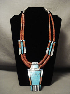 Superb Modernistic Santo Domingo 'Kachina Maiden' Turquoise Coral Necklace-Nativo Arts