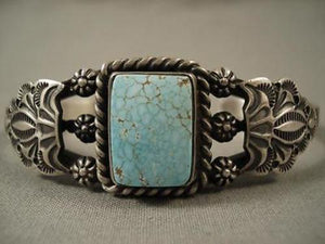 SUPERIOR MODERNISTIC HIGH GRADE #8 TURQUOISE SILVER BRACELET-Nativo Arts