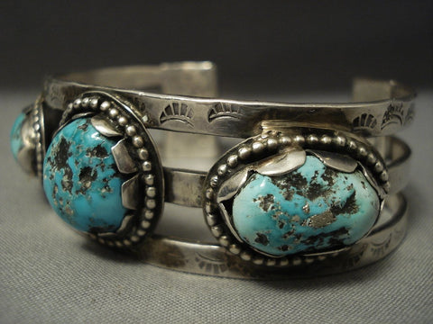 Superior Vintage **cool Hallmark** Turquoise Sterling Native American Jewelry Silver Bracelet-Nativo Arts
