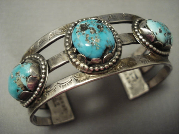 Superior Vintage **cool Hallmark** Turquoise Sterling Native American Jewelry Silver Bracelet