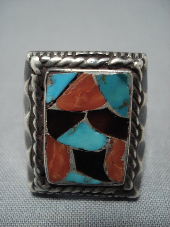 Superior Vintage Native American Jewelry Navajo Turquoise Coral Sterling Silver Ring Old-Nativo Arts