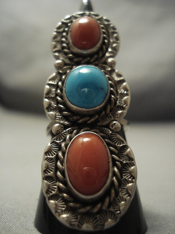 Superior Vintage Navajo Domed Coral Turquoise Sterling Native American Jewelry Silver Ring Old Pawn-Nativo Arts
