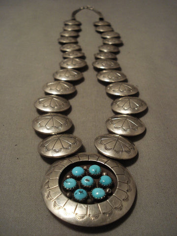 Superior Vintage Navajo Hand Pounded Sterling Native American Jewelry Silver Turquoise Necklace-Nativo Arts