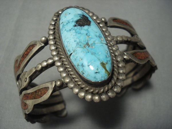 Superior Vintage Navajo Kachina Turquoise Sterling Native American Jewelry Silver Bracelet Old