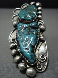 Superior Vintage Navajo Native American Jewelry jewelry Sterling Silver Deep Turquoise Ring-Nativo Arts