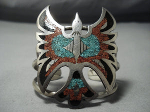 Superior Vintage Navajo Native American Jewelry jewelry Turquoise Coral Sterling Silver Inlay Bracelet Old-Nativo Arts