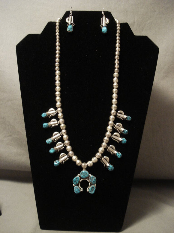 Superior Vintage Navajo Old Kinmgan Turquoise Native American Jewelry Silver Squash Blossom Necklace-Nativo Arts