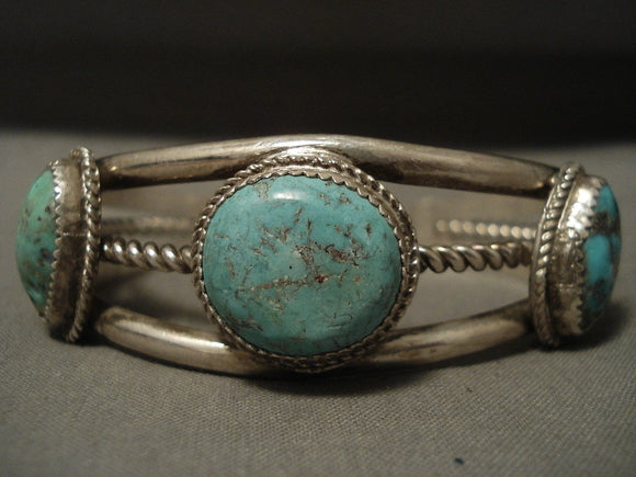 Superior Vintage Navajo Spiderweb Turquoise Native American Jewelry Silver Bracelet-Nativo Arts