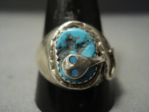 Superior Vintage Zuni Snake And Turquoise Sterling Native American Jewelry Silver Ring-Nativo Arts