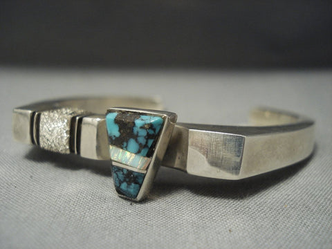 Superlative Bisbee Turquoise Vintage Navajo Sterling Native American Jewelry Silver Bracelet Old Pawn-Nativo Arts