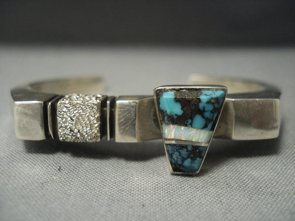 Superlative Bisbee Turquoise Vintage Navajo Sterling Native American Jewelry Silver Bracelet Old Pawn